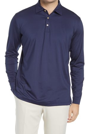Peter Millar Men's Solid Long Sleeve Jersey Polo