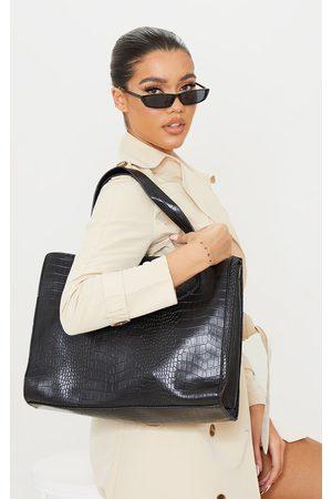 PRETTYLITTLETHING PU Croc Tote Bag