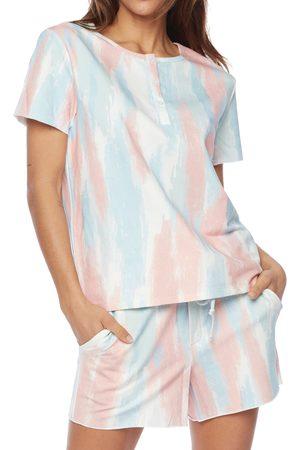 WASH LAB Women's Water Paint Short Sleeve Henley Sweatshirt