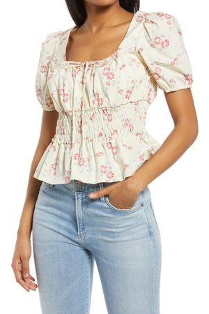 WAYF Women's Lucian Floral Smocked Waist Top