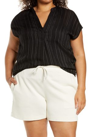 Vince Plus Size Women's Stripe Split Neck Blouse