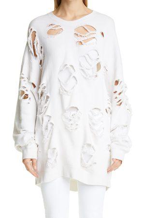 R13 Women's Oversize Super Distressed Crewneck Sweatshirt