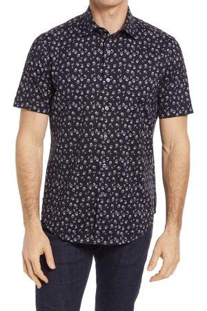 Bugatchi Men's Ooohcotton Stretch Floral Short Sleeve Button-Up Shirt