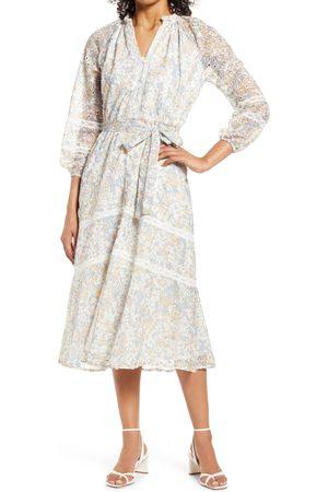 Adelyn Rae Women's Lace Tie Waist Long Sleeve Midi Dress