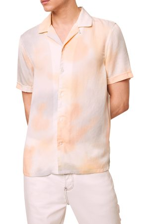 French Connection Men's Slim Fit Tie Dye Short Sleeve Button-Up Camp Shirt