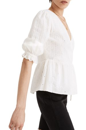 Madewell Women's Embroidered Eyelet Puff Sleeve Peplum Wrap Top