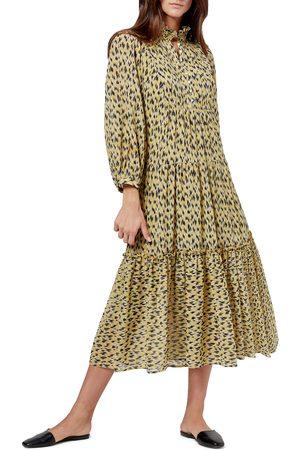 Joie Women's Pismo Abstract Animal Print Long Sleeve Midi Dress