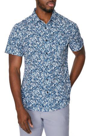 7 Diamonds Men's After Midnight Leopard Short Sleeve Stretch Button-Up Shirt