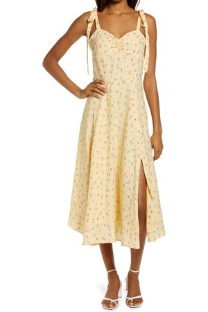 Bardot Women's Floral Ditsy Tie Shoulder Midi Dress