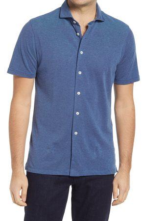 Bugatchi Men's Short Sleeve Pique Button-Up Shirt