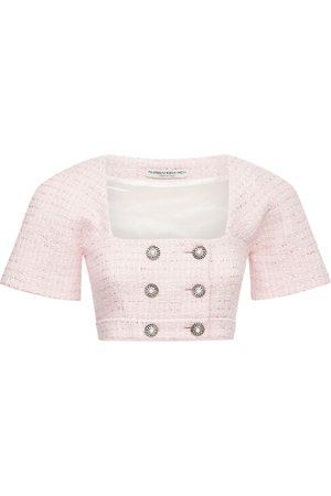 Alessandra Rich Women Crop Tops - Sequin Wool Blend Tweed Crop Top
