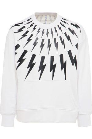 Neil Barrett Men Sweatshirts - Thunderbolt Print Jersey Sweatshirt