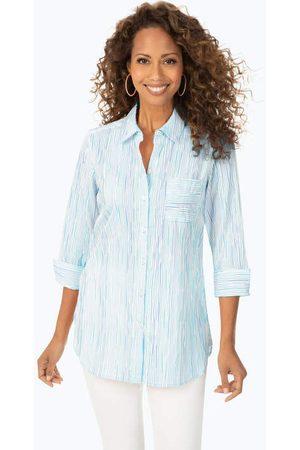Foxcroft Women Tunics - Ombre Crinkle Stripe Tunic