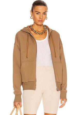 Marissa Webb Finley Drop Shoulder Zip Front Hoodie in Tan