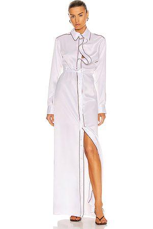 Y / PROJECT Women Asymmetrical Dresses - Asymmetric Collar Maxi Shirt Dress in