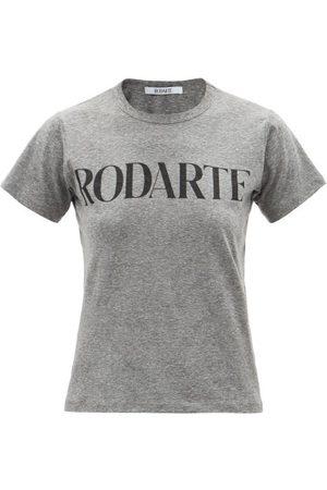RODARTE Logo-print Jersey T-shirt - Womens - Grey