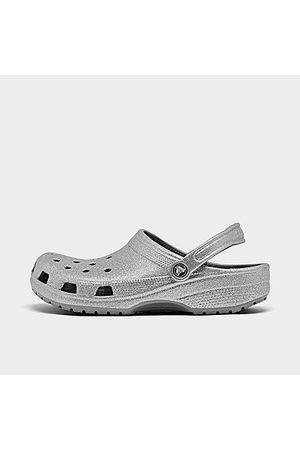 Crocs Men Clogs - Classic Clog Shoes in Grey/Silver Glitter Size 2.0