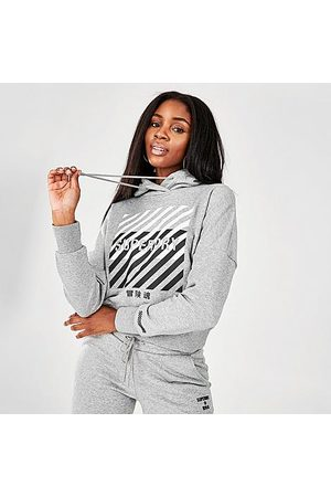 Superdry Women Sports Hoodies - Women's Sport Crop Hoodie in Grey/Grey Size 8 Cotton