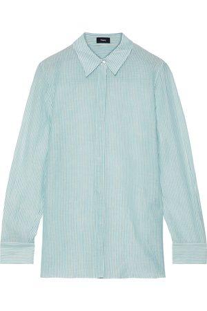 THEORY Women Long sleeves - Woman Striped Cotton-gauze Shirt Teal Size S
