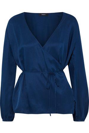 THEORY Women Wrap tops - Woman Silk-satin Twill Wrap Blouse Cobalt Size S