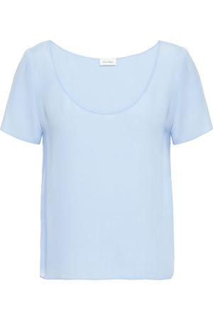 American Vintage Women Short Sleeve - Woman Crepe De Chine T-shirt Sky Size L