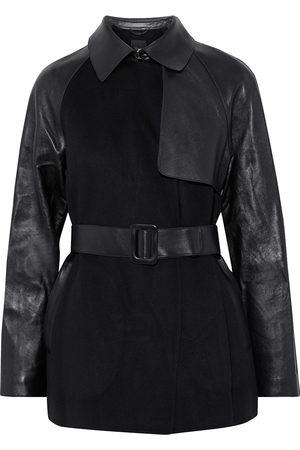 THEORY Women Leather Jackets - Woman Leather-paneled Wool And Cashmere-blend Felt Jacket Size XS