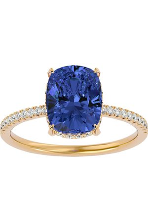 SuperJeweler 3 3/4 Carat Antique Cushion Cut Tanzanite & Hidden Halo 32 Diamond Ring in 14K (2.50 g)