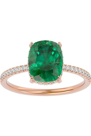 SuperJeweler 3 1/4 Carat Antique Cushion Cut Emerald Cut & Hidden Halo 32 Diamond Ring in 14K (2.50 g)