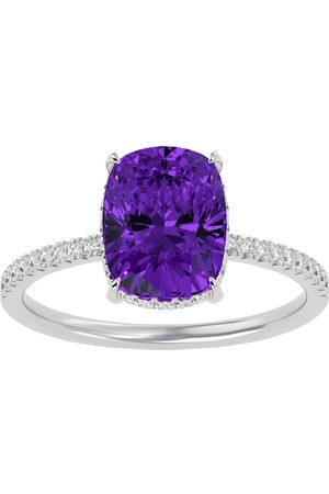 SuperJeweler 2 3/4 Carat Antique Cushion Cut Amethyst & Hidden Halo 32 Diamond Ring in 14K (2.50 g)