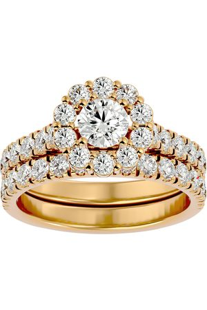 SuperJeweler 2 Carat Halo Diamond Bridal Ring Set in 14K (5 g) (