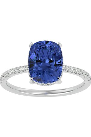 SuperJeweler Women Rings - 3 3/4 Carat Antique Cushion Cut Tanzanite & Hidden Halo 32 Diamond Ring in 14K (2.50 g)