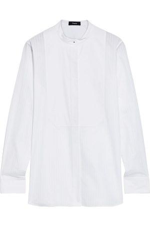 THEORY Woman Paneled Pinstriped Cotton-poplin Shirt Size L