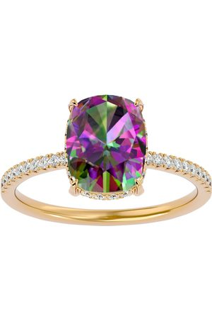 SuperJeweler 3 3/4 Carat Antique Cushion Cut Mystic Topaz & Hidden Halo 32 Diamond Ring in 14K (2.50 g)