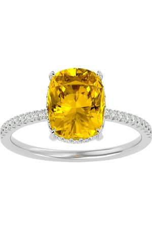 SuperJeweler 2 3/4 Carat Antique Cushion Cut Citrine & Hidden Halo 32 Diamond Ring in 14K (2.50 g)