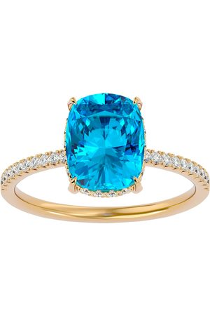 SuperJeweler 3 3/4 Carat Antique Cushion Cut Blue Topaz & Hidden Halo 32 Diamond Ring in 14K (2.50 g)