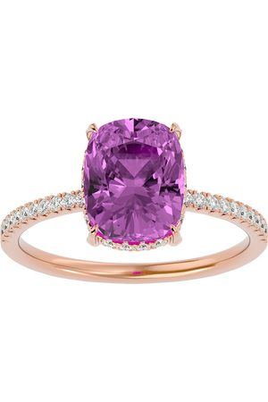 SuperJeweler 3 3/4 Carat Antique Cushion Cut Pink Topaz & Hidden Halo 32 Diamond Ring in 14K (2.50 g)