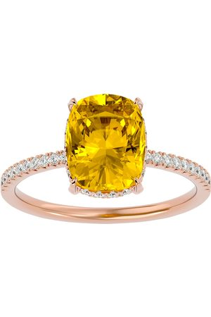 SuperJeweler Women Rings - 2 3/4 Carat Antique Cushion Cut Citrine & Hidden Halo 32 Diamond Ring in 14K (2.50 g)