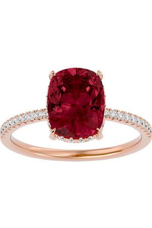 SuperJeweler 3 3/4 Carat Antique Cushion Cut Garnet & Hidden Halo 32 Diamond Ring in 14K (2.50 g)