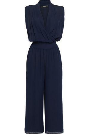 THEORY Women Jumpsuits - Woman Cropped Wrap-effect Silk-georgette Jumpsuit Navy Size L