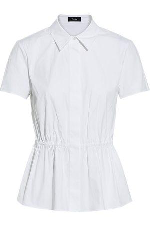 THEORY Woman Cotton-blend Poplin Peplum Shirt Size L