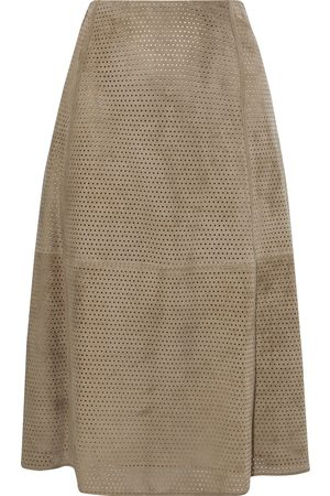 THEORY Women Leather Skirts - Woman Perforated Suede Midi Skirt Taupe Size 4