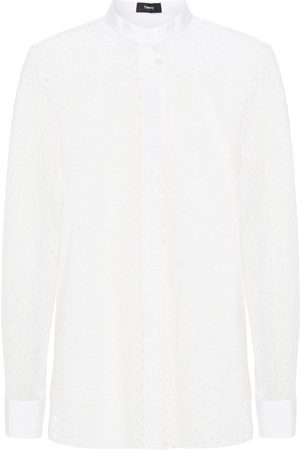 THEORY Women Long sleeves - Woman Broderie Anglaise Cotton And Silk-blend Shirt Size L