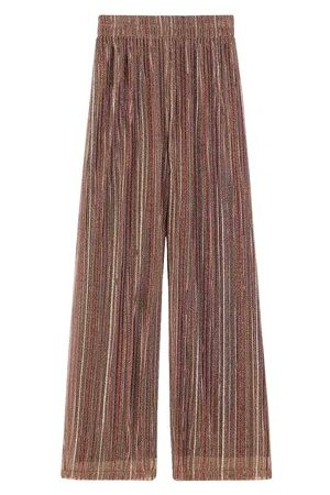 MOMONÍ Women Wide Leg Pants - Trapani pant in multi-striped lurex bronze