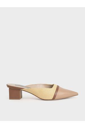 CHARLES & KEITH Women Heels - Raffia Block Heel Mules