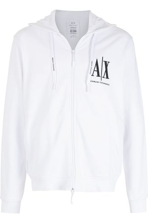 Armani Logo-embroidered zip-up hoodie