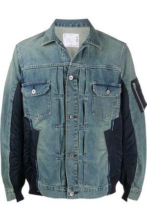 SACAI Men Denim Jackets - Panelled denim jacket