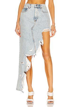 Alexander Wang Asymmetric Fray Denim Skirt in Denim-Light