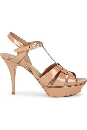 Saint Laurent Women Heeled Sandals - Tribute 80 blush leather sandals