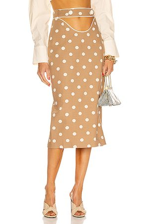 MARIANNA SENCHINA Cutout Pencil Skirt in Tan