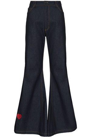 Natasha Zinko Women Flares - Heart-embroidery flared jeans